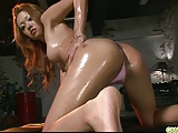 Stunning and gorgeous babe oiled up and seducing
