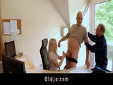 The Horny Secretary Fills Her Hungry Mouth With 2 Old Dicks