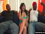 Brunette MILF Allie Ray Is Paired With Two Beefy And Wellhung Black Men