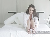 Australian Big Tit Angela White Masturbating in Bed