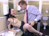 Boss' rebelious daughter taken advantage of in the toilets