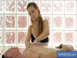 Tight masseuse masturbates clients cock