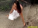 Bikini girlfriend assfucks while pussyrubbing