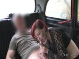Short haired redhead banged in fake taxi
