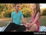Perky tits school teen eats cock at sex picnic