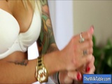 Tattooed masseuse fucked by her client