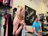 Amateur chick flashing boobs in public for cash