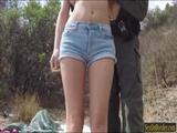 Latina slut Bliss ass fucked in the open