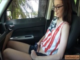 Nerd teen Tali Dava fucked in the car
