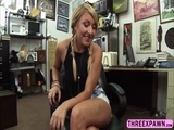 Cute blonde sucked cock in the table