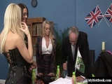 British chicks with big boobs, Antonia Deona and Emma Butt, wearing glasses and