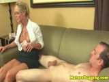 Mature handjob milf in spex uses both hands