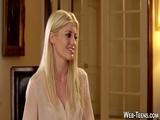 Petite blonde gets oral