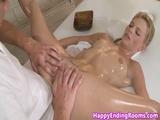 Massage beauty fingered before blowjob