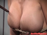Busty roped sub hanged and punished