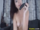 Wild Brunette Babe Playing with her Toys
