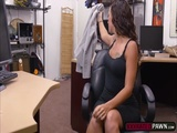 Horny pawnman fucks Victoria Banxxx on the desk in hardcore