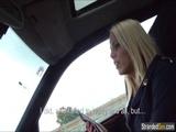 Blonde stewardess has first time car sex