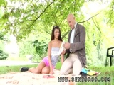 Ebony teen Vivien meets Hugo in the park and cant fight back him
