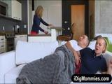 MILF catches teen couple fucking on sofa 2