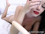 Brunette Loves Sucking Dildo