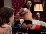 Ebony Helps Brunette Get Orgasm On Cock