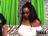 Busty Black Mya Lushes Takes White Dick