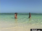 Threesome On The Beach With Two Perfect Babes