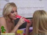 Three blonde lesbians having fun while pussy licking